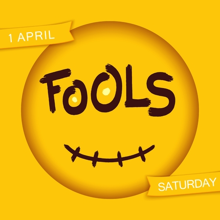 Fools. Stylized smiley design. Grunge brush lettering in 3D round frame with smile. Vector EPS 10 Illustration