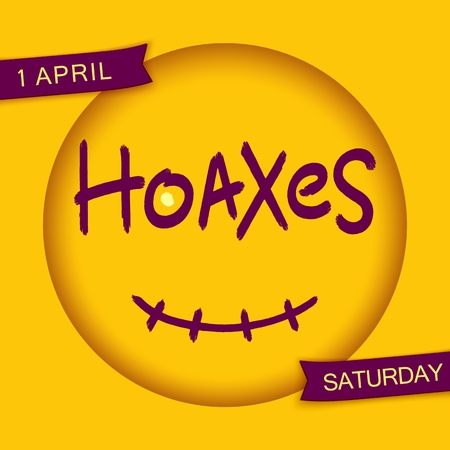 spoof: Hoaxes. Stylized smiley design. Grunge brush lettering in 3D round frame with smile. Vector EPS 10 Illustration