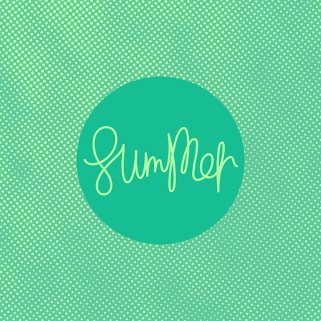 Summer. Colour halftone background with handwritten lettering. Trendy vector illustration