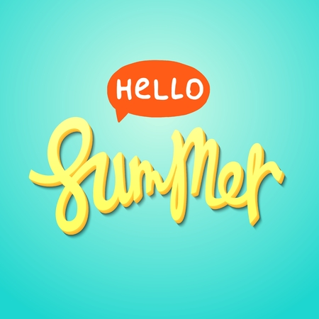 Hello Summer. Funny and sunny trendy lettering poster. Vector design elements