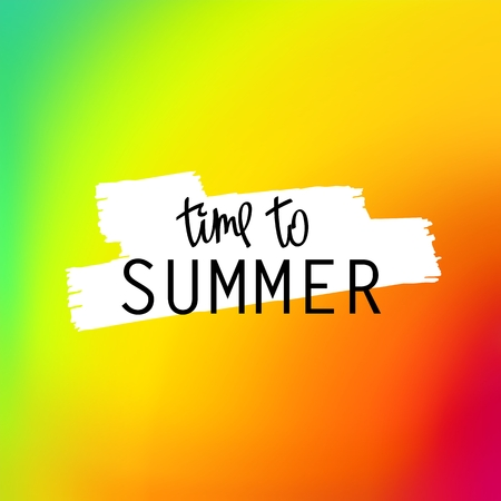 Time To Summer. Trendy lettering and bright iridescent multicolored background. Vector mesh illustration Illustration