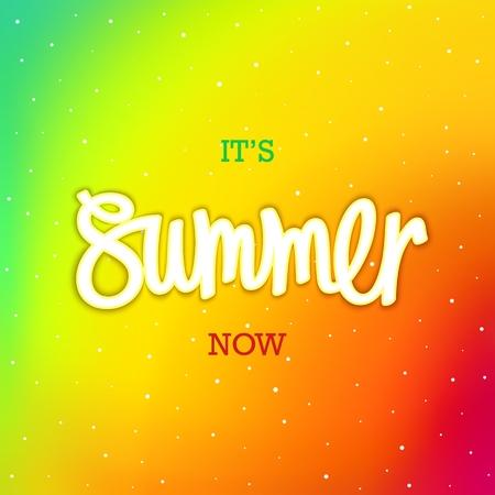 Summer. Now. Modern iridescent color pattern and handwritten inscription. Vector illustration
