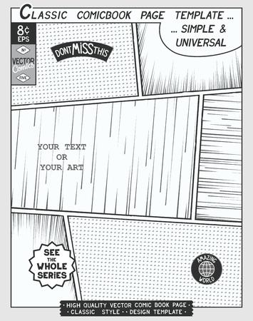 空きコミック ページ テンプレートです。漫画レイアウトとスピード ラインとアクション  ハーフトーンの背景とその他の要素。