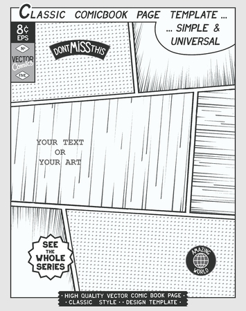 Free space Comic book page template. Comics layout and action with speed lines,  halftone background and other elements.