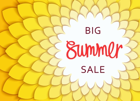 layered: Big Summer Sale. Round frame with stylized leaves pattern. Cut paper structure.  Vector shopping banner and design elements.