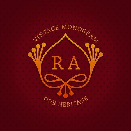 Stylish vintage emblem with letters RA. Monogram template. Ornate royal design. Vector illustration
