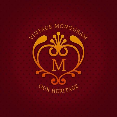 Stylish vintage emblem with letter M. Monogram template. Ornate royal design. Vector illustration Illustration