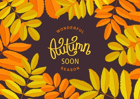 Wonderful Autumn Season. Retro floral poster with beautiful rowan branches. Seasonal template frame for design.  Handwritten lettering label. Vector illustration