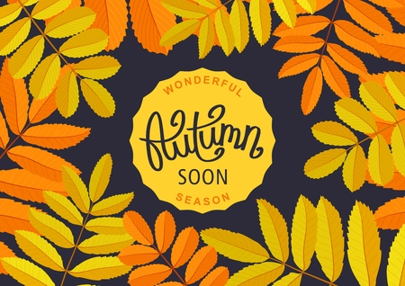 Wonderful Autumn Season. Floral poster with rowan branches. Retro banner and handwritten lettering label.  Vector illustration