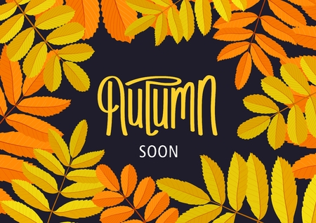 Autumn Soon. Retro floral poster with beautiful rowan branches. Seasonal template frame for design.  Handwritten lettering label. Vector illustration