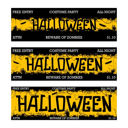 Halloween costume night party. Creative thematic horizontal banner. Horror style template.  Three different sizes. Vector illustration Illustration