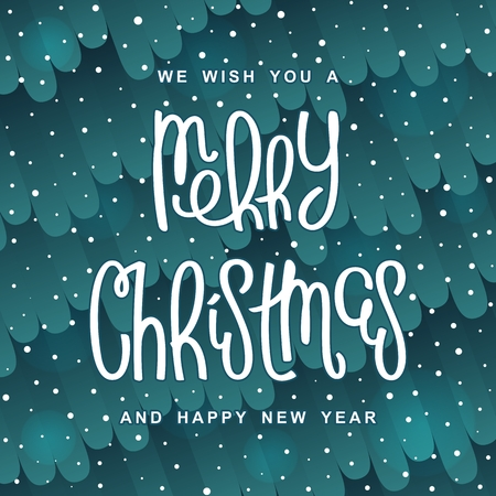 Fabulous Christmas design. Background with stylized pattern. Trendy handwritten lettering. Vector elements