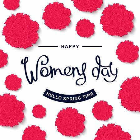 Trendy festive poster for the Women's day. Flowers composition of carnations, handwritten lettering vector illustration.