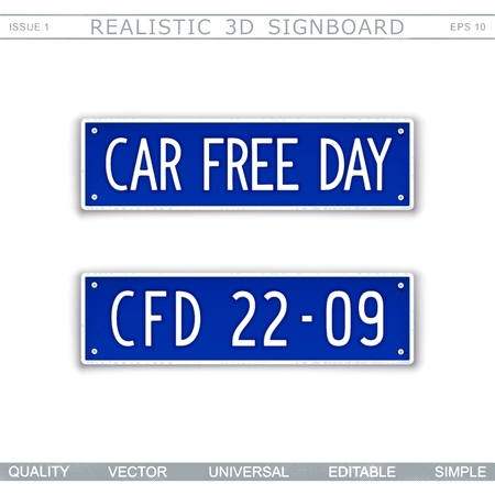 Car Free Day. 22 september. Stylized vehicle license plate Top view Vector design elements