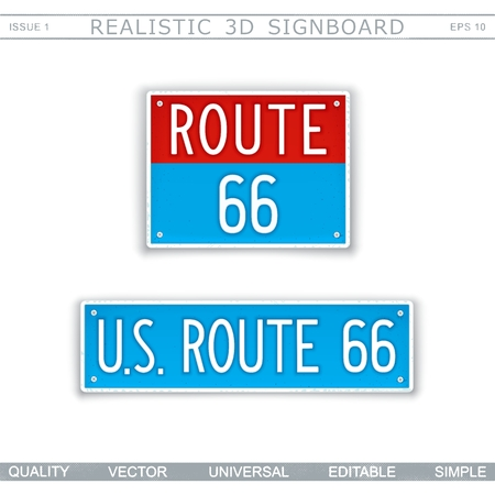 U.S. Route 66 Creative 3D signboard Top view Vector design elements