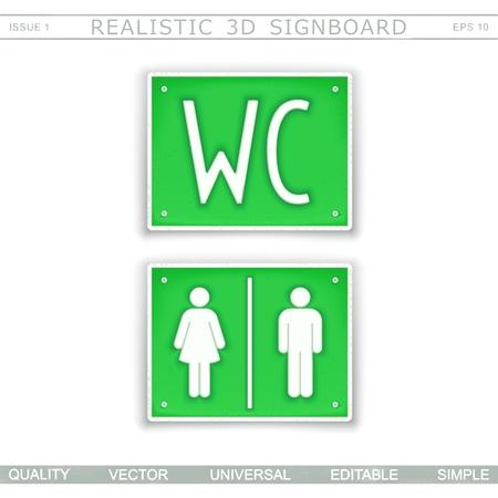 Toilet WC  Information signboard Top view Vector design elements