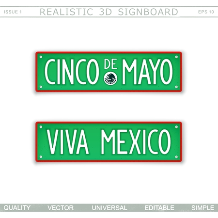 Viva Mexico. Cinco De Mayo. Stylized car license plate. Top view. Vector design elements Vettoriali