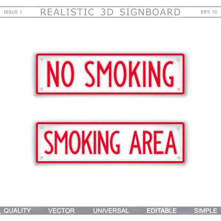 No Smoking and Smoking Area Information signboard. Top view Vector design elements