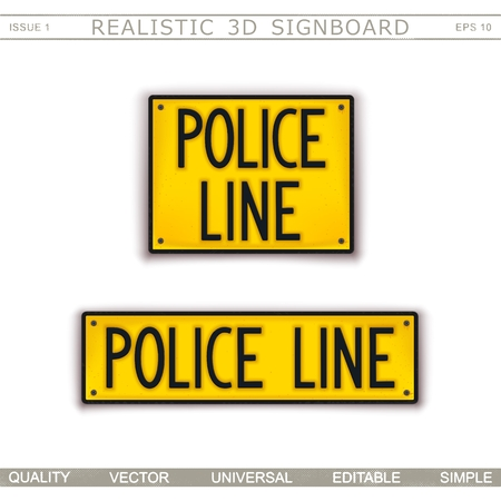 Signboard design. Police Line. Do Not Cross. Car license plate stylized. Vector elements