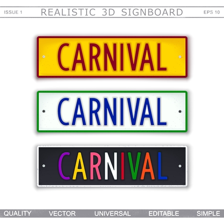 Carnival. Car license plate stylized. Top view. Vector design elements