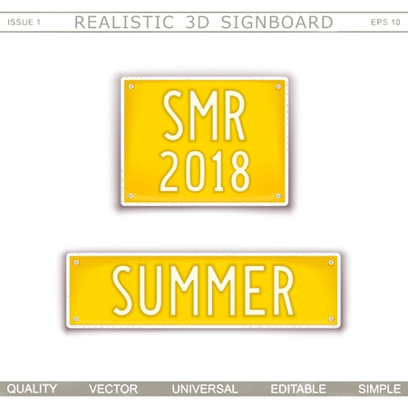 Summer. Abbreviation - SMR 2018. Stylized car license plate. Top view. Vector design elements