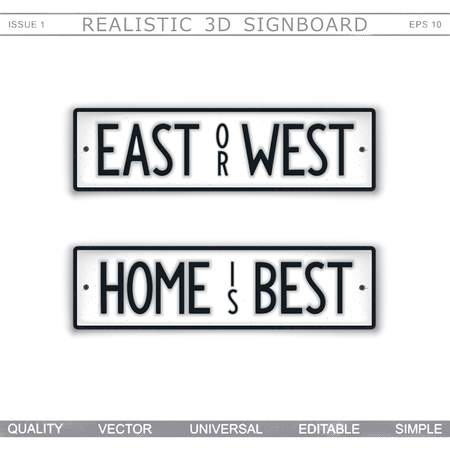 East or West Home is Best. Wisdom. Stylized car license plate. Top view. Vector design elements