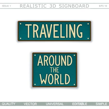 In viaggio. Intorno al mondo. Cartello vintage. Targa stilizzata. Vista dall'alto. Elementi di disegno vettoriale Archivio Fotografico - 99804486