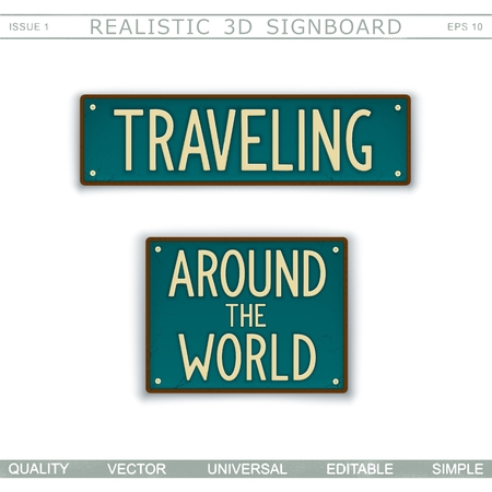 Traveling. Around the world. Vintage signboard. Stylized license plate. Top view. Vector design elements