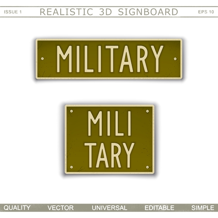 Military. Signboard design in car license plate style. Lettering with the effect stamping. Vector elements