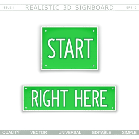 Start. Right here. Stylized car license plate. Top view. Vector design elements