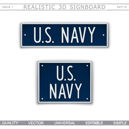 Military signboard. U.S. Navy. Car license plate stylized. Lettering with the effect stamping. Vector design elements