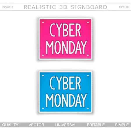 Cyber Monday. 3D signboard. Top view. Vector design elements