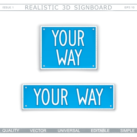 Your Way. Stylized car license plate. Top view. Vector design elements