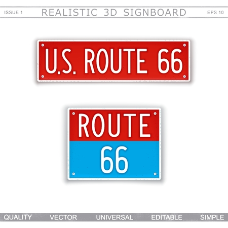U.S. Route 66. Creative 3D signboard. Top view. Vector design elements