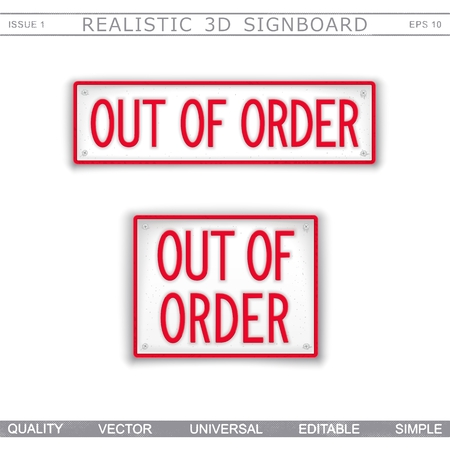 Out of Order. Information signboard. Top view. Vector design elements Stock Illustratie