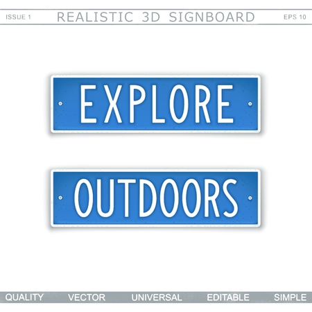 Explore. Outdoors. Signboard in style car license plate. Top view. Vector design elements