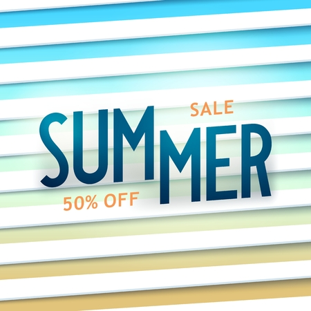 Summer sale poster. Creative composition with lettering and sunblind background. Vector illustration