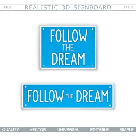 Follow the Dream. Wisdom. Stylized car license plate. Top view. Vector design elements