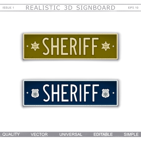 Sheriff signboard. Car license plate stylized. Lettering with the effect stamping. Vector design elements Stock Illustratie