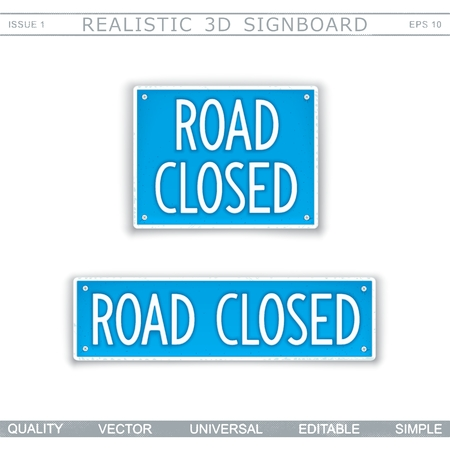 Road Closed. Traffic sign. Top view. Vector design elements