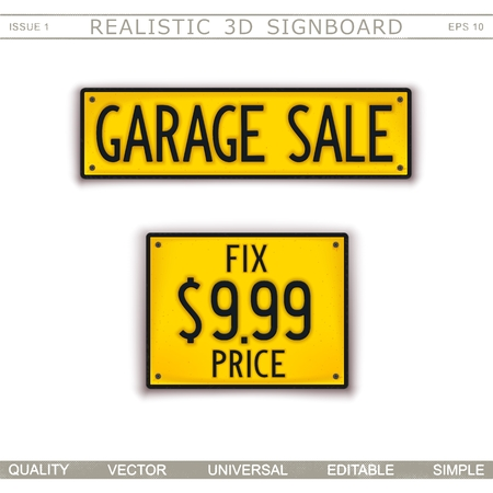 Garage Sale. Fix price. 3D signboard. Top view. Vector design elements