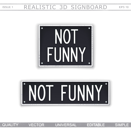 Not Funny. Signboard stylized car license plate. Top view. Vector design elements