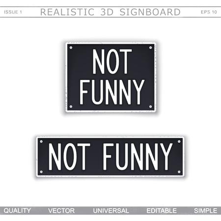 Niet grappig. Uithangbord gestileerde auto nummerplaat. Bovenaanzicht. Vector designelementen