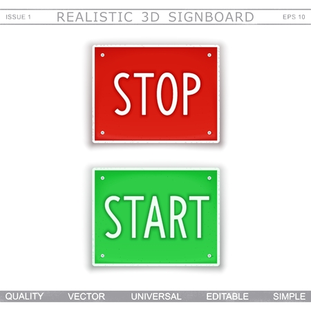 Stop. Start. Information signboard. Top view. Vector design elements