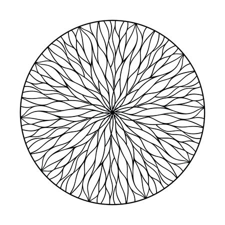 Round mandala ornament from flowing lines. Nature weave. Vector decor elements Illusztráció
