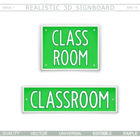 Classroom. Creative signboard. Stylized license plate . Top view. Vector design elements