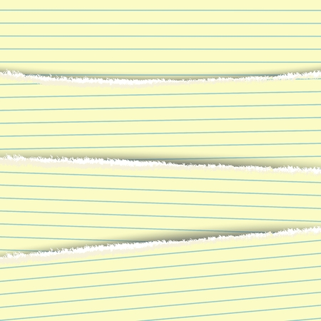 Four sheets of notepad with torn edges. Layered vector template