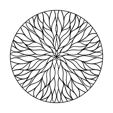 Circular ornament from flowing lines. Natural Geometry. Vector decor elements
