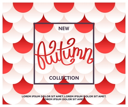 New Autumn Collection. Season Sale banner. Red and white circles pattern with layered effect and gradient fill.