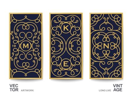 Kunstvolle Karten im Vintage-Stil. Vorlage für Mode, Luxus und Medien. Linear ein dekoratives Muster im klassischen Stil. Vektordesign